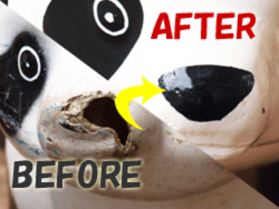 動物遊具の穴補修