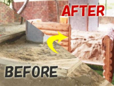 砂場の改修工事